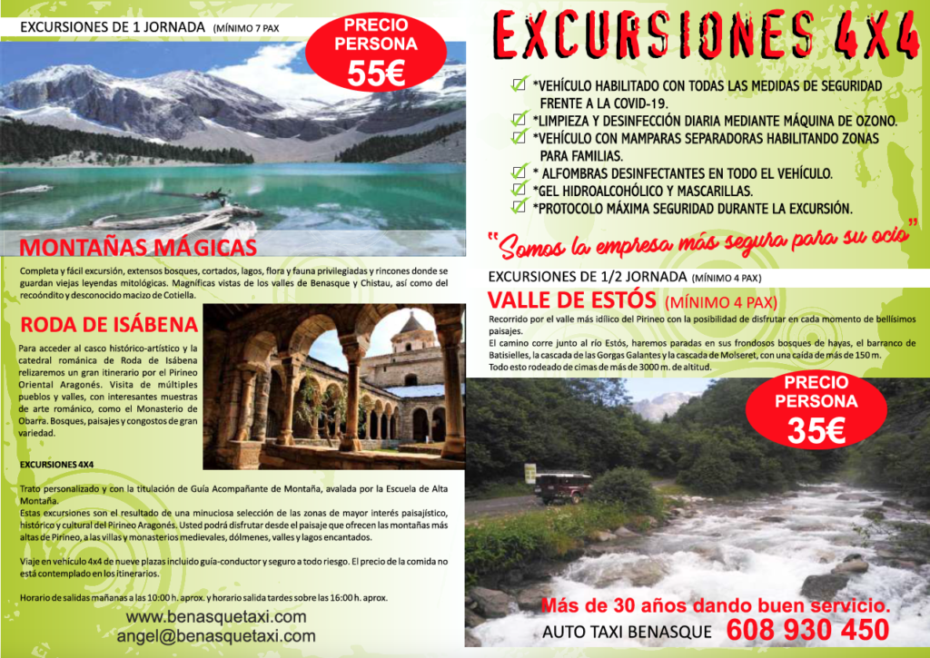 FOLLETO EXCURSIONES 4X4 BENASQUE